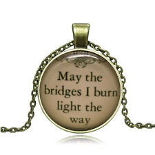 NEW DIY Vintage Classic Quotes Cabochon Bronze Glass Chain Pendant Necklace #327