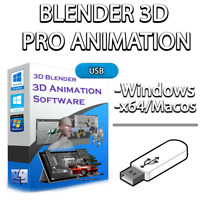 3D Blender PRO Animation Graphics Design USB | With Beginner's Guide | PC & MAC