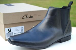 Clarks BNIB Mens Chelsea Boots GLEMENT TOP Black Leather UK 10 / 44.5