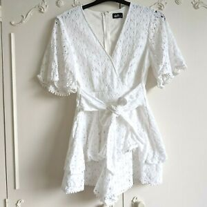 Dotti White Lace Flared Sleeves Playsuit Romper w Waist Tie - Size 10 WORN ONCE