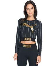 PUMA Gold Pack Stripe Cropped Longsleeve T-Shirt - Black / Gold - Women's - XXS