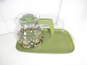 Vintage 1960s / 1970s Glass Coffee Pot on Tray, GREEN & Floral Design