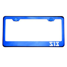Blue Chrome License Plate Frame S13 Laser Etched Metal Screw Cap