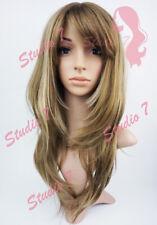 W148 Chocolate Blonde Highlight Long Layered Sythetic Wig - studio7-uk
