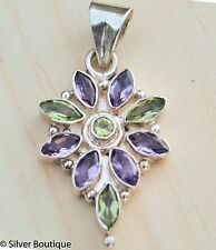 Amethyst Peridot Flower Pendant SterlingSilver Faceted High Quality Handmade 925