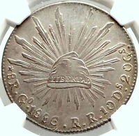 1886 Go RR MEXICO BIG Silver 8 Reales Antique Mexican Coin Eagle NGC MS61 i74772