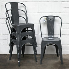 Set of 4 Graphite Metal Industrial Dining Chair Kitchen Bistro Cafe Vintage Seat