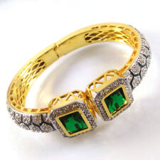 EMERALD & CZ Gemstone High Gold Plated Handmade Designer Cuff Bangle Bracelet