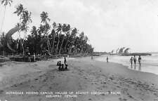 Colombo Ceylon Beach Real Photo Antique Postcard J45013