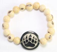 CREAM Açaí BEAR CLAW Beads Tagua Medallion  Bracelet - Organic