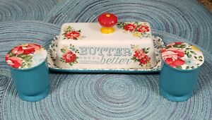 THE PIONEER WOMAN VINTAGE FLORAL BUTTER DISH & SALT AND PEPPER SHAKERS SET NEW