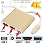 Type C USB 3.1 to USB-C 4K HDMI USB 3.0 Adapter Cable For Macbook Sup Hub 1 C2Q4