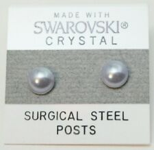 13mm Small White Pearl Circle Stud Earrings Made With SWAROVSKI ELEMENTS