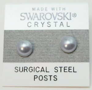 White Pearl Round Stud Earrings 13mm Circle Small Made With Swarovski Elements