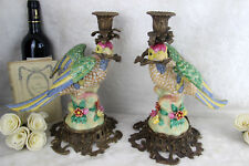 PAIR faience porcelain parrot birds couple statue candle holders 1970's