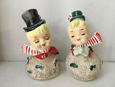 Vintage LEFTON Christmas Snowball Kissing Couple Bells #019