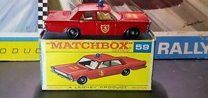 Matchbox Lesney Ford Galaxie Fire Chief Car 59 w/ Original F type Box