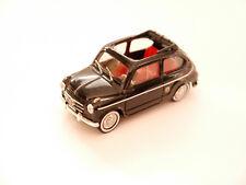 Fiat 600 Abarth mit Sonnendach sun roof in schwarz nero noir black, Brumm 1:43!