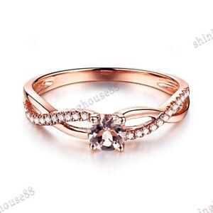 Noble 10K Rose Gold Round 4.5mm Morganite Real Diamonds Gemstone Ring Setting