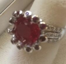 HiIGH END! 8.40CT RED  RUBY REAL 925 STERLING SILVER RING SZ 6