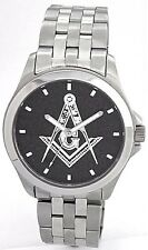 ALL STAINLESS MEDALLION DIAL MASONIC WATCH - Your choice of 2 dial colors.