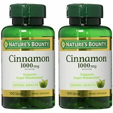 Nature's Bounty Cinnamon Vitamins Supplements Health 1000mg 100 Capsules 2-pack
