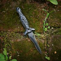 Deadly Kris Blade Spider Dagger Boot Knife Athame - Black w/ Nylon Sheath