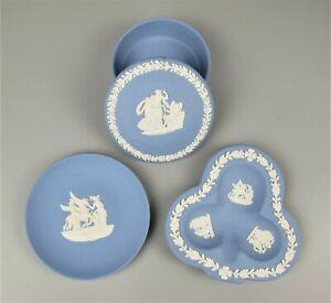 Vintage blue Wedgwood Jasperware lot: round box, round dish & clove shaped tray.