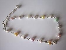 Silver Ankle bracelet - Multi colour pearl & filigree beads 9.5 inch & extender