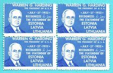 Latvia Estonia Lithuania America Block Of 4 Revenue Stamp Mnh 302