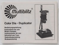 Bedienungsanleitung Multiblitz Color Dia - Duplicator  instruction