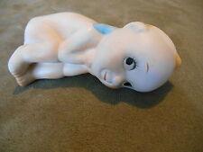 """Old Vintage Kewpie Baby Doll Figurine Smirk Eyelashes side eye blue wings 4 1/2"""""""