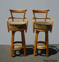 Pair Vintage Mid Century Modern Bamboo Brown Swivel Bar Stools Tiki Palm Beach