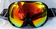 New $120 Bolle Mens Orbit Black Ski Goggles With Rare Fire Orange Mirror Lens