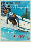 National Forests America's Playground Ski Snow  Vintage Travel Art Poster Print