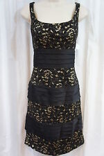 SL Fashions Dress Sz 12 Black Gold Floral Shimmer Lace Banded Tiered Cocktail