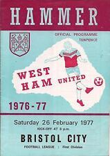Football Programme - West Ham v Bristol City - Div 1 - 1977