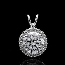 Real 14k Gold Round 1.00 CT Halo Created Diamond Pendant Solitaire Charm VVS1