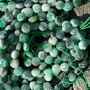 Natural Faceted Emerald 105 Coin Beads 4x2.5mm 0.6mm Hole