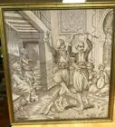 VINTAGE ARABIAN DANCING SCENE TAPESTRY  - 19.75 x 18.25 inches - Nice Condition