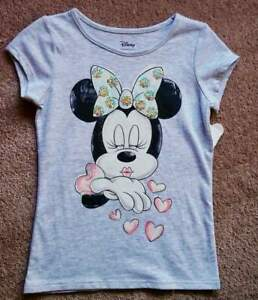 Disney Jumping Beans NWT Minnie Mouse Sparkle Gray Girls T-Shirt Hearts 4 6X