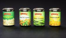 Dosen Lebensmittel Konserven Miniatur 1:12 Puppenstube Puppenhaus Bohnen Möhren