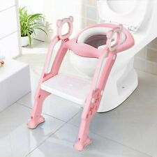 KEPLIN Toddler Toilet Training Seat Ladder Sturdy Non-Slip and Soft Cushion Pink