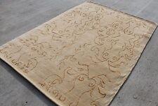R107 Gorgeous Beige Woolen Handmade Tibetan Area Rug 5.8' x 7.10', Made in Nepal