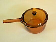 Vintage Corning Visions Glass Cookware, Handled Saucepan Pot & Lid, Amber, 1.5 L