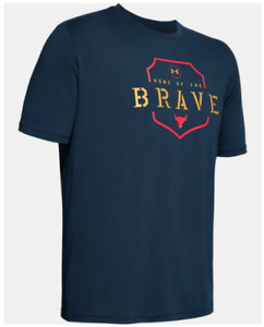 Under Armour Project Rock Tee Mens Medium New Home of the Brave Freedom Blue