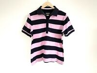 Duchamp Ladies Polo Shirt Size 14 Pink & Navy Striped Collared Short Sleeve