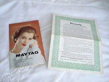 Vintage 1960's Maytag HIGHLANDER WASHER A200/A200S Instruction Guide w Warranty