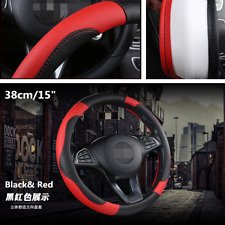 15inch Car SUV Steering Wheel Cover Breathable Anti-slip PU Leather Accessories