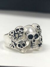 Mens Sterling Silver Skull Ring Solid 925 Ghost Multi Head NO RESERVE Sz 8/
